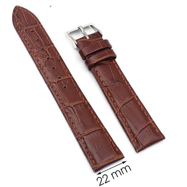 Dây da đồng hồ size 22 mm nâu G022