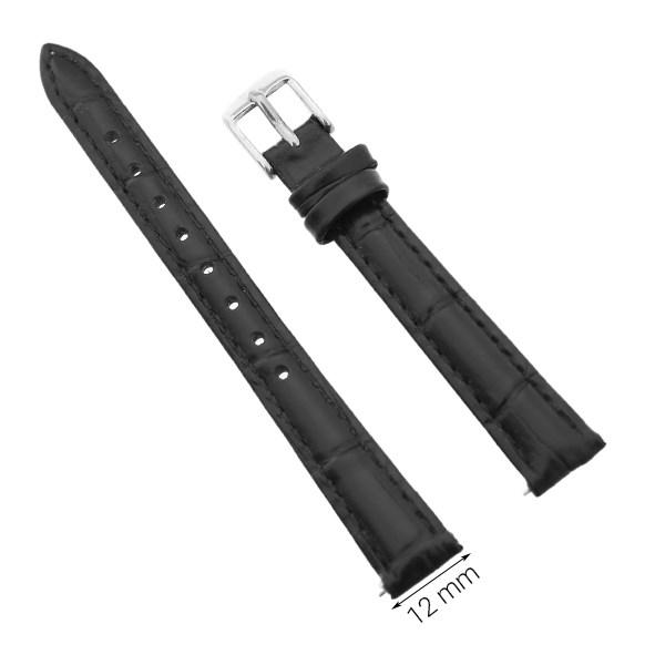 Dây da đồng hồ size 12 mm đen G024