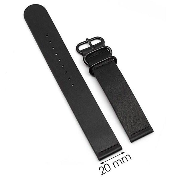 Dây da đồng hồ size 20 mm đen G041