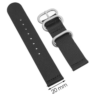 Dây da đồng hồ 20 mm đen G041