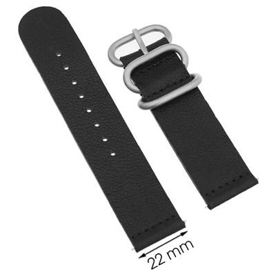 Dây da đồng hồ 22 mm đen G041