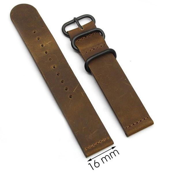 Dây da đồng hồ size 16 mm nâu G041