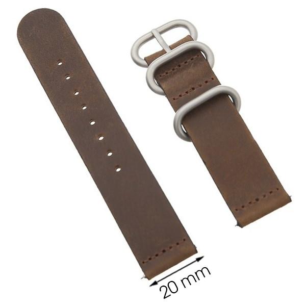 Dây da đồng hồ size 20 mm nâu G041