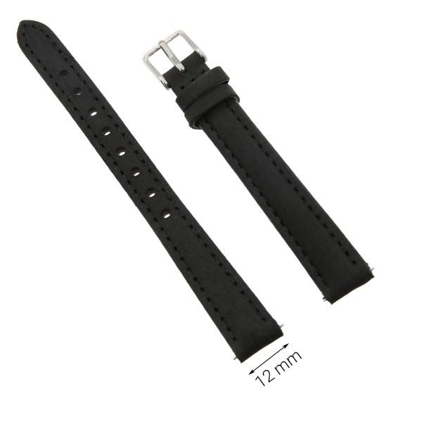 Dây da đồng hồ size 12 mm đen G027