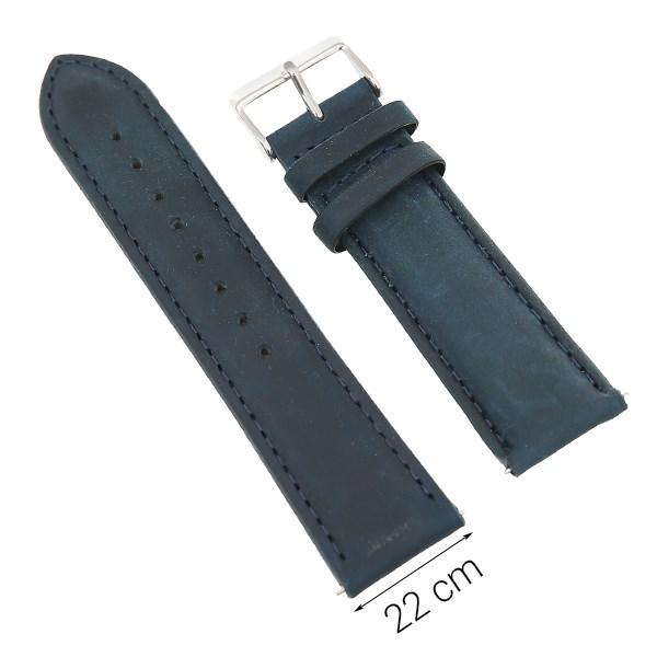 Dây da đồng hồ size 22 mm xanh dương G027