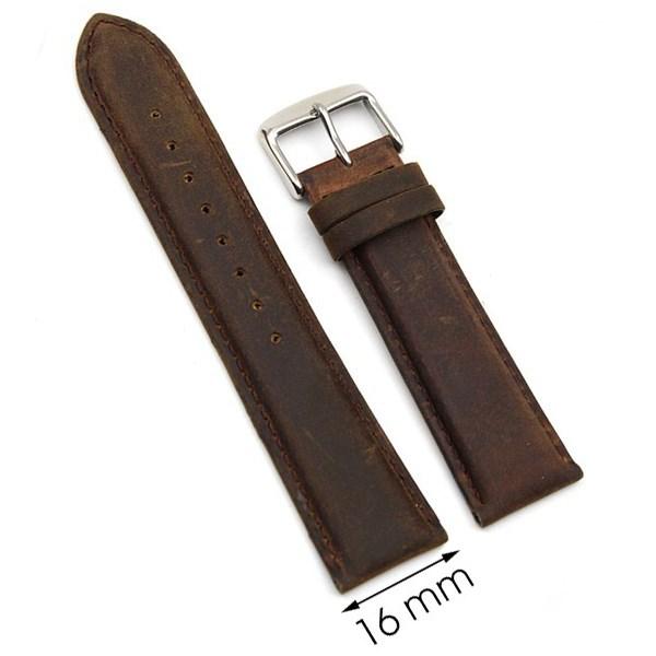 Dây da đồng hồ size 16 mm nâu G027