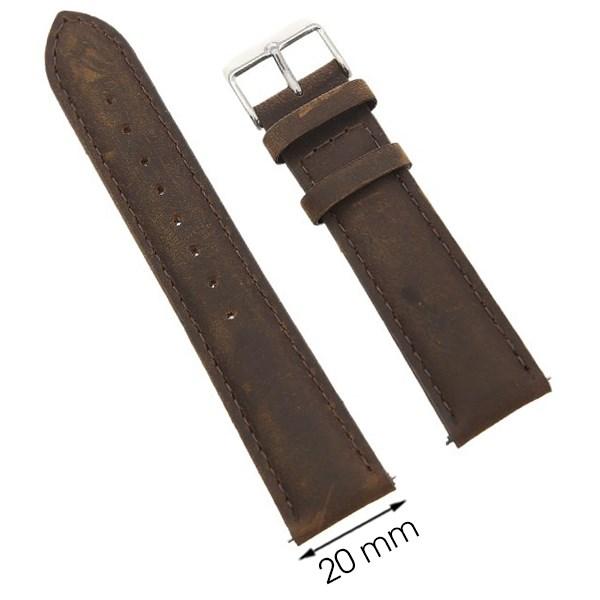 Dây da đồng hồ size 20 mm nâu G027