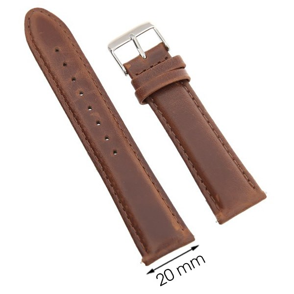 Dây da đồng hồ size 20 mm nâu G031
