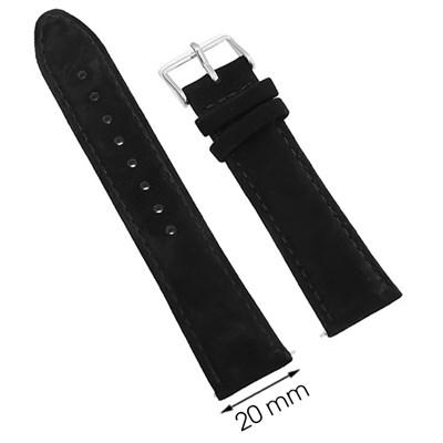 Dây da đồng hồ 20 mm đen G031