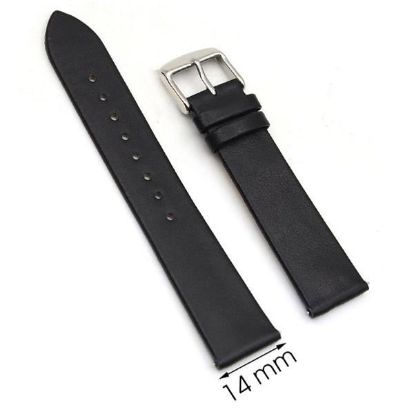Dây da đồng hồ size 14 mm đen G067