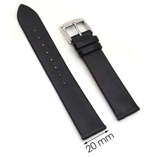 Dây da đồng hồ size 20 mm đen G067