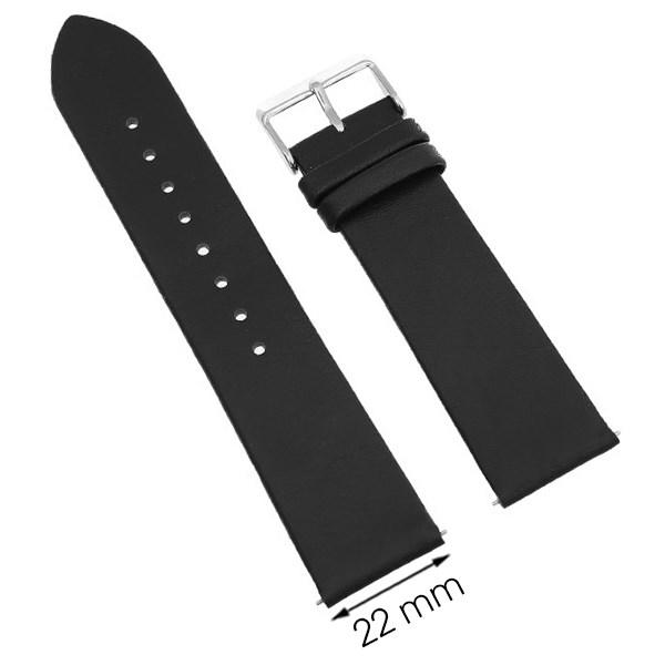 Dây da đồng hồ size 22 mm đen G067