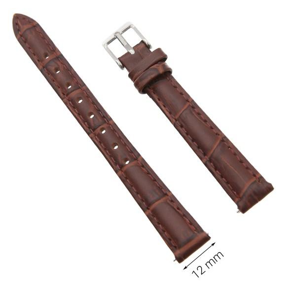Dây da đồng hồ size 12 mm nâu G071