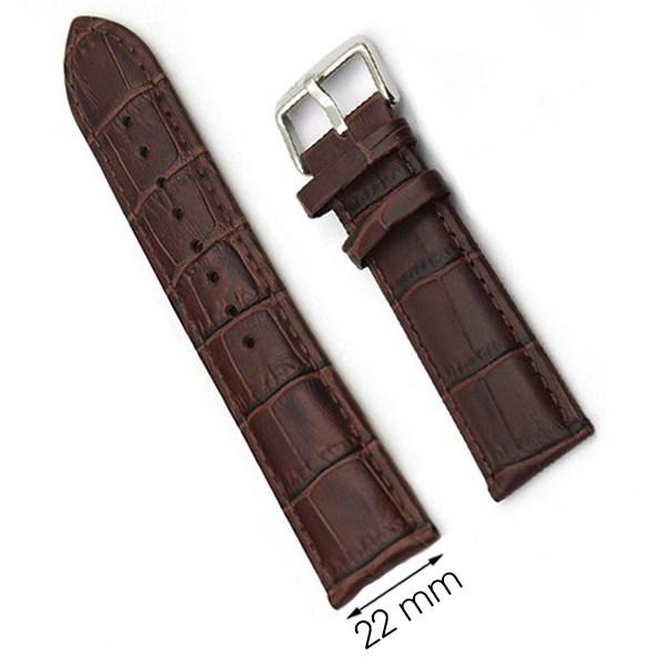 Dây da đồng hồ size 22 mm nâu G071