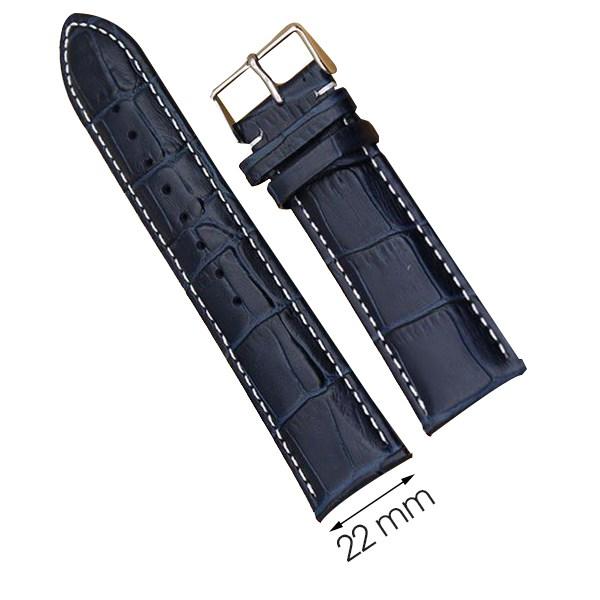Dây da đồng hồ size 22 mm xanh dương G072