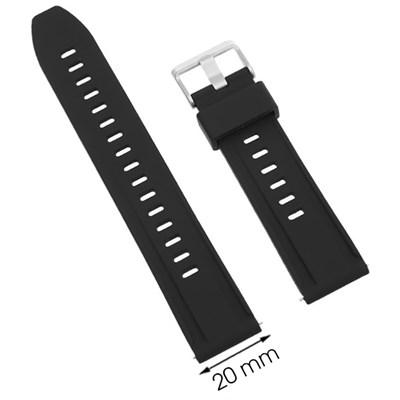 Dây sillicone đồng hồ 20 mm đen P042