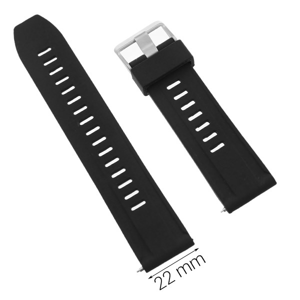 Dây sillicone đồng hồ 22 mm đen P042