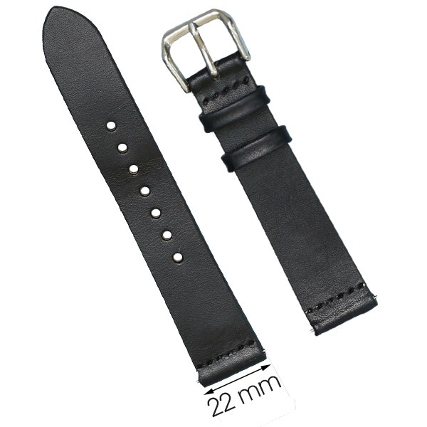 Dây da đồng hồ size 22 mm đen DVM1K3