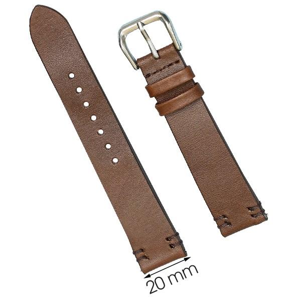 Dây da đồng hồ size 20 mm nâu đậm DVM2K6