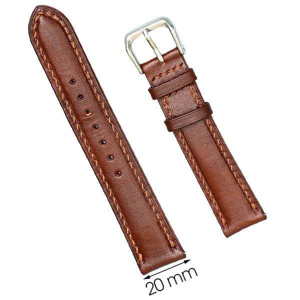Dây da đồng hồ size 20 mm nâu nhạt DVM5K1