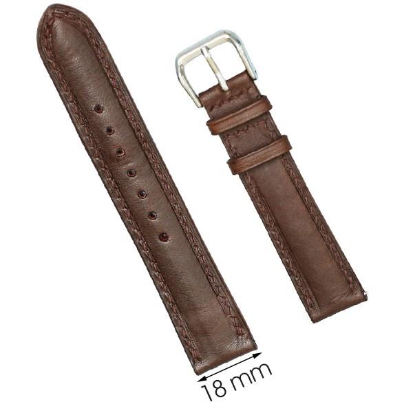 Dây da đồng hồ size 18 mm nâu đậm DVM6K1
