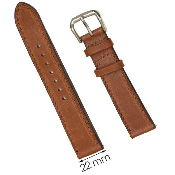 Dây da đồng hồ size 22 mm nâu nhạt SAM1K1