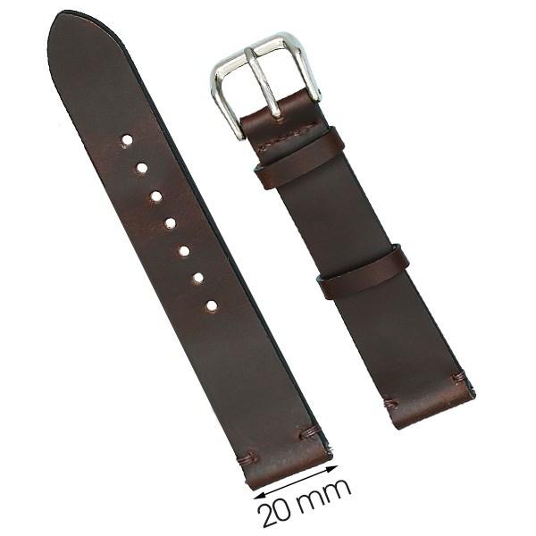 Dây da đồng hồ size 20 mm nâu đậm SAM1K5