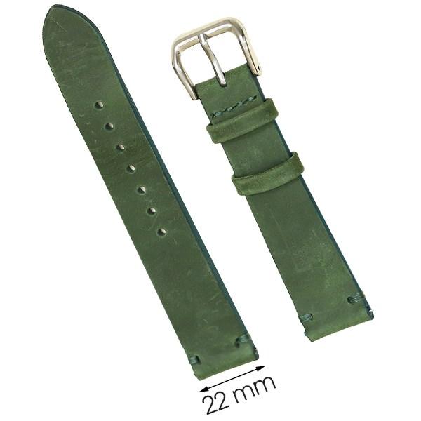 Dây da đồng hồ size 22 mm xanh lá cây SAM1K5
