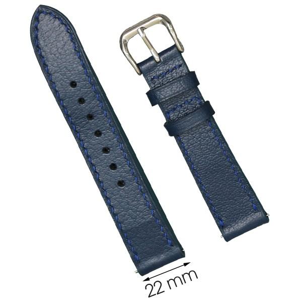 Dây da đồng hồ size 22 mm xanh đậm CKM1K1