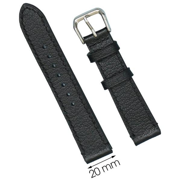 Dây da đồng hồ size 20 mm đen CKM1K2