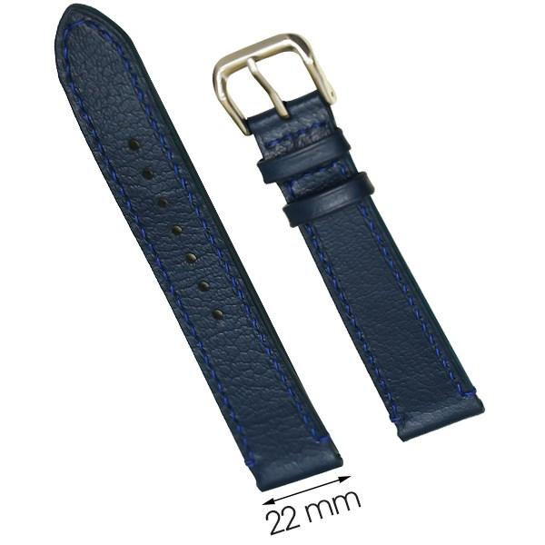 Dây da đồng hồ size 22 mm xanh đậm CKM1K2