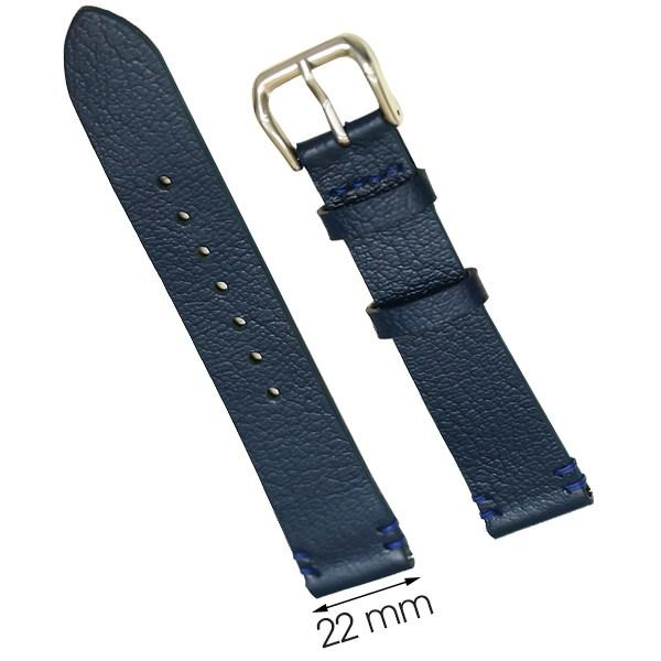 Dây da đồng hồ size 22 mm xanh đậm CKM1K6