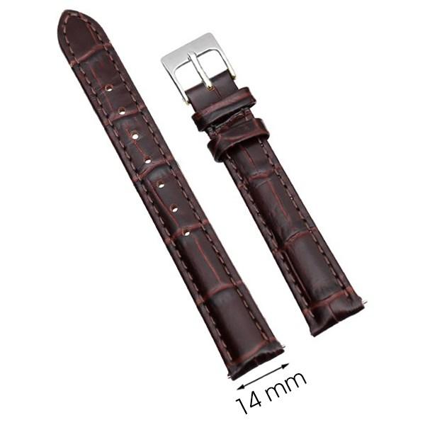 Dây da đồng hồ size 14mm Nâu L002-02-14