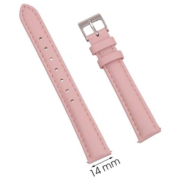 Dây da đồng hồ size 14mm Hồng L005-02-14