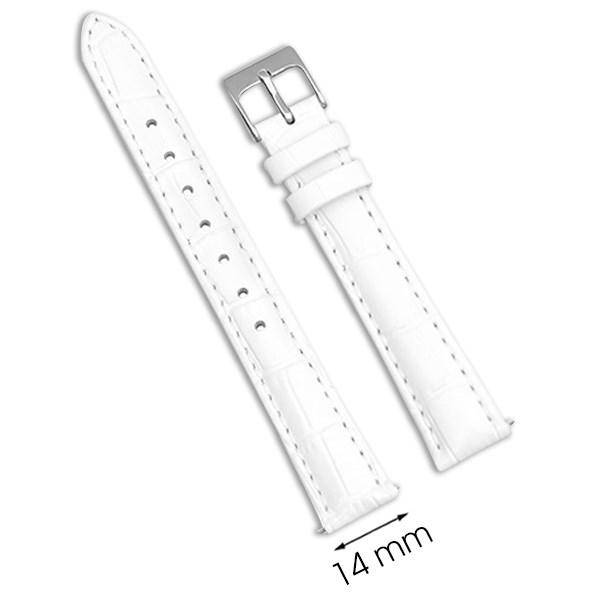 Dây da đồng hồ size 14mm Trắng L009-02-14