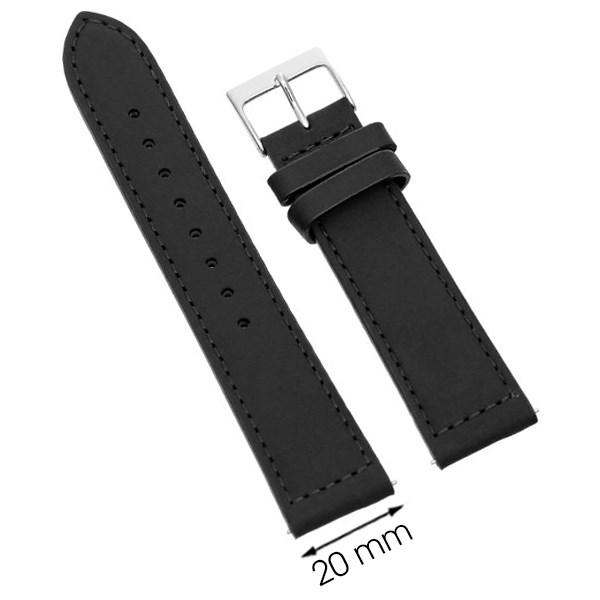 Dây da đồng hồ size 20mm Đen L014-05-20