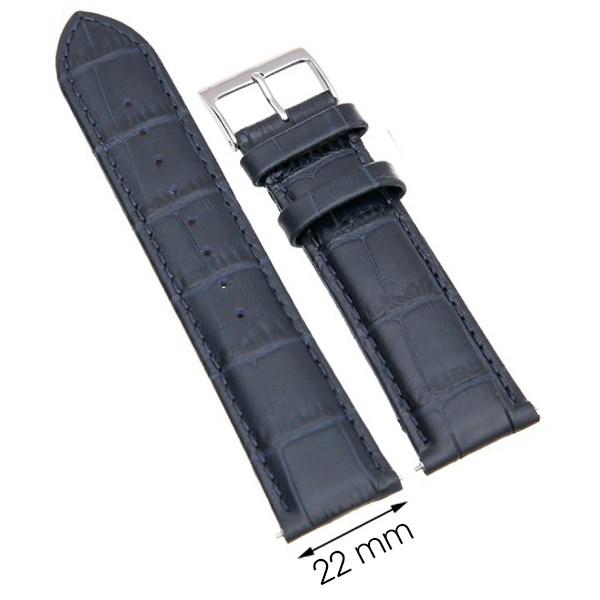 Dây da đồng hồ 22 mm xanh dương L003-06-22