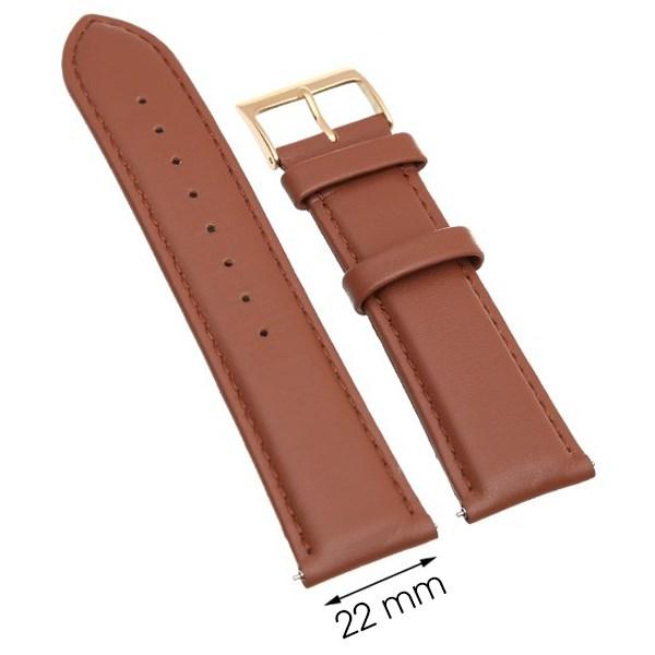 Dây da đồng hồ size 22mm Nâu L010-06-22