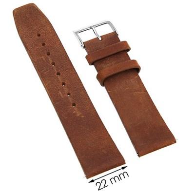 Dây da đồng hồ 22 mm nâu bò L013-06-22