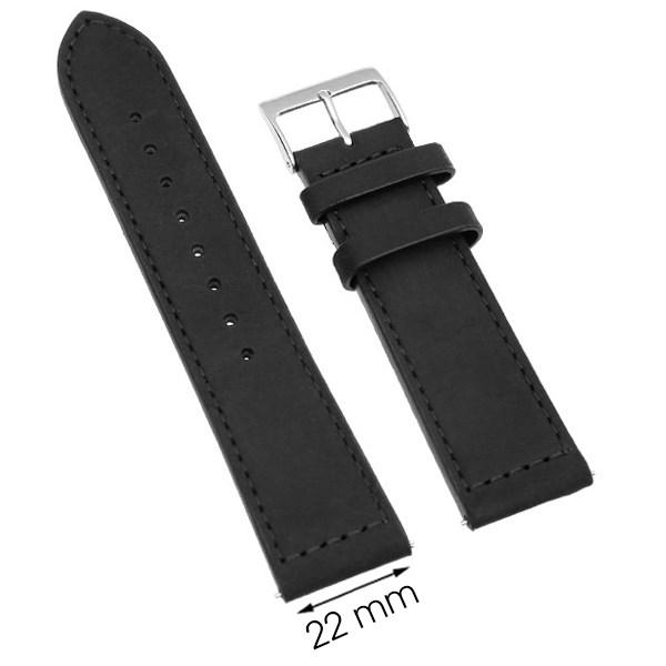 Dây da đồng hồ size 22mm Đen L014-06-22