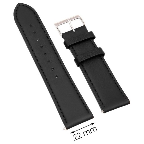 Dây da đồng hồ size 22mm Đen L015-06-22