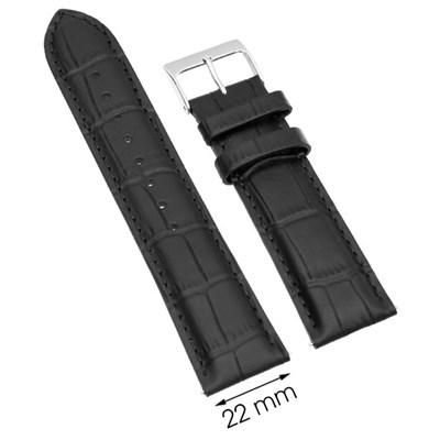 Dây da đồng hồ 22 mm đen L021-06-22