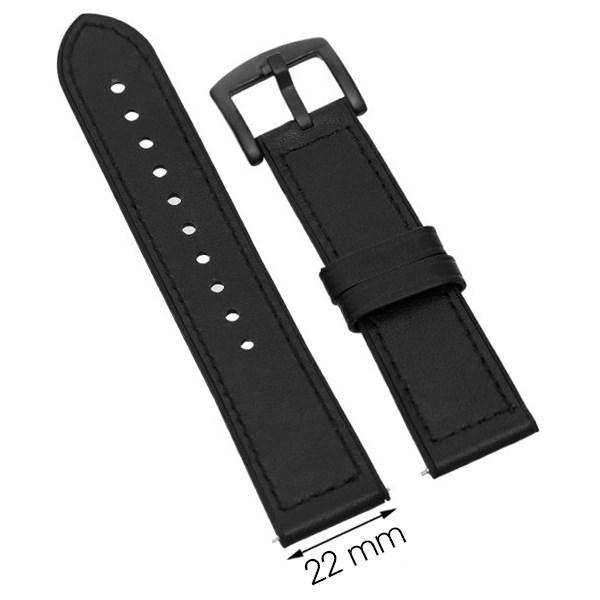 Dây da đồng hồ Samsung/Huawei/khác size 22mm Đen M06-01-22