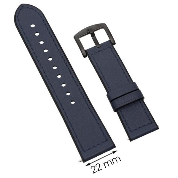 Dây da đồng hồ Samsung/Huawei/khác size 22mm Xanh M06-02-22