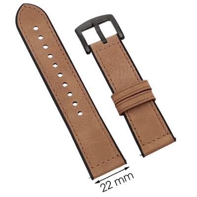 Dây da đồng hồ Samsung/Huawei/khác 22 mm nâu M06-04-22