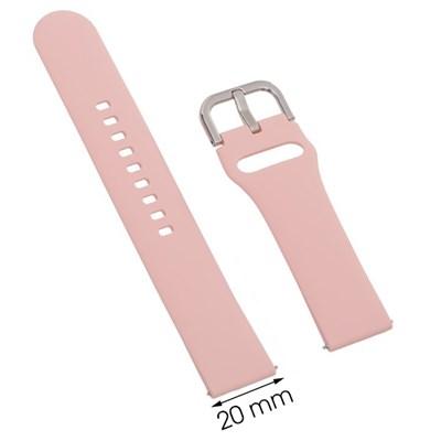 Dây silicone đồng hồ Samsung/Huawei/khác 20 mm hồng M04-03-20