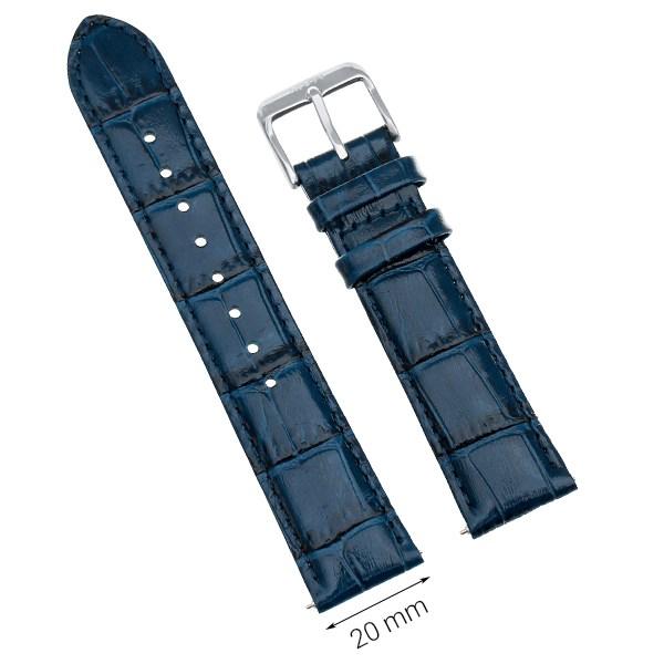 Dây da đồng hồ size 20mm Xanh L023-05
