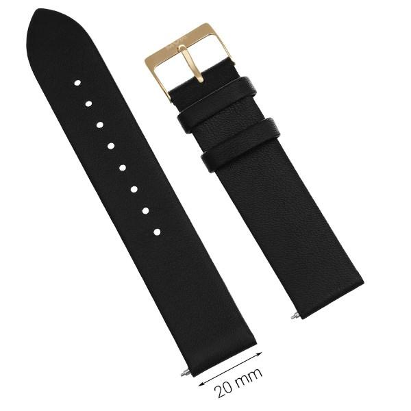 Dây da đồng hồ size 20mm Đen L023-02