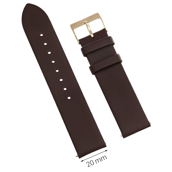 Dây da đồng hồ size 20mm Nâu L023-04