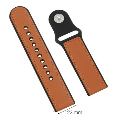 Dây da đồng hồ Samsung/Huawei/Khác 22 mm Nâu M08-03-22
